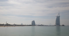 Ultra HD 4K Dubai Skyline Waterfront Jumeirah Burj Al Arab People Beach Mosque Stock Footage