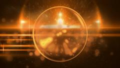 Golden Orange Sphere Orb With Dust Particles Stock Footage