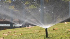 Sprinkler head watering in park. Stock Footage