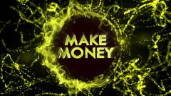 MAKE MONEY Gold Text in Particles Stock Footage