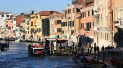 Pleasure cruiser docked in Venice, Italy Stock Footage