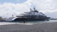 Stock Video Footage of M/Y mega yacht luxury ship super yacht Serene at dock.