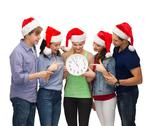 Stock Photo of group of smiling students with clock showing 12