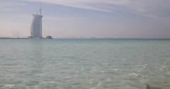 Ultra HD 4K Burj Al Arab Exotic Asian Turquoise Water Beautiful Dubai Landmark Stock Footage