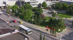Anchorage traffic near city park and city skyline 8 - stock footage