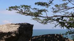 Tropical trees and sea landscape. Gulf of Thailand, Hua Hin, Takiab Hill. Stock Footage