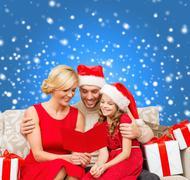 smiling family reading postcard - stock illustration