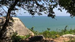 Takiab Hill Sea View. Tropical trees and sea landscape. Thailand, Hua Hin. Stock Footage