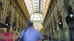 People Shopping in Vittorio Emanuele II Gallery in Milan.time lapse,4k - stock footage