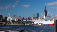 Port of Hamburg Landungsbrucken, time lapse, 4k to multimedia Stock Footage