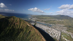 Aerial Shot over the residential area of oahu hawaii - stock footage