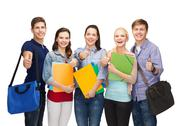 Stock Photo of group of smiling students showing thumbs up