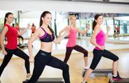 Stock Photo of group of smiling people doing aerobics