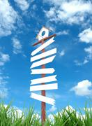 signboard and blue sky - stock illustration