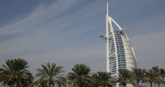 Ultra HD 4K Burj Al Arab Landmark United Arab Emirates Dubai Exotic Palm Trees Stock Footage