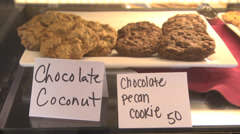 Cafe cookies coconut and chocolate Stock Footage