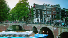 Amsterdam is famous for its numerous canals and bridges. Stock Footage
