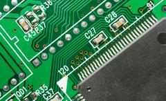 computer component circuit board memory processor networking card - stock photo