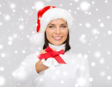 woman in santa helper hat with jingle bells - stock illustration