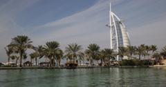 Ultra HD 4K UHD Dubai Vacation Turquoise Water Burj Al Arab Jumeirah Palm Trees Stock Footage