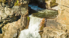 Top of Linville Falls Waterfall with Water Flowing from Pool Stock Footage