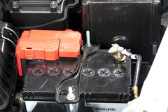 Car battery in the engine room Stock Photos