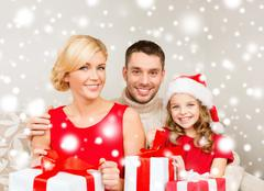 smiling family holding many gift boxes - stock illustration