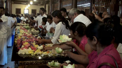 Offerings to the Sacred Tooth Relic of Buddha. Kandy, Sri Lanka. Stock Footage