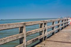 Concrete bridge railing Stock Photos