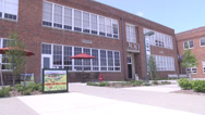 Stock Video Footage of cafe ext remodeled school building