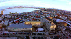 Reykjavik Bay From Church Tower Wide Stock Footage