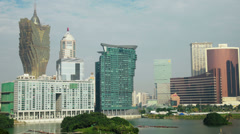 HD video of the Macau skyline and it's casinos Stock Footage