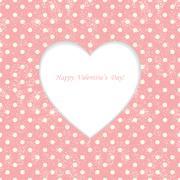 Card with heart shape on Polka dot background Stock Illustration