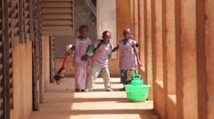 School kids waving at camera - stock footage