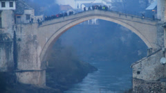 Stari Most (English: Old Bridge) - Mostar Stock Footage