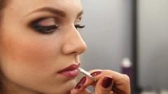 Wedding make-up lipstick beautiful blonde Stock Footage