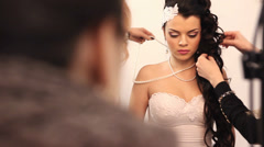 Wedding make-up photo-session, girl Stock Footage
