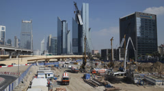 Dubai Skyline Office Building Construction Site Development Crane Worker Working Stock Footage