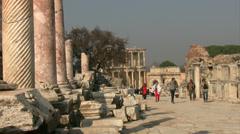 Ancient road in  Ephesus Turkey Stock Footage