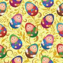 Stock Illustration of Seamless, dolls and floral pattern