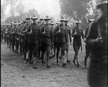 1915 - WW1 - US Soldiers Marching 02 Stock Footage