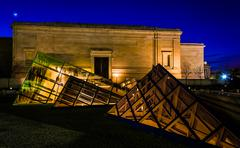Stock Photo of glass pyramids outside the national gallery of art at night, washington, dc.