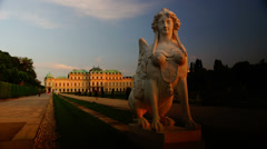 Chimera statue in the Belvedere Palace in Vienna,time lapse view,4k Stock Footage