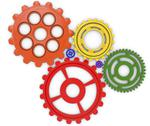 Stock Illustration of color gears on white background. 3d rendered
