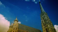 St. Stephen church  in Vienna, Austria. time lapse Stock Footage
