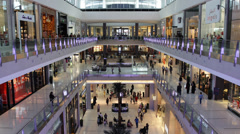 Inside Dubai Mall Shopping Center Mall People Tourist Visiting Famous Brands UAE Stock Footage