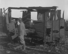 WW1 - French Soldiers - Inspecting Destroyed French Train 01 Stock Footage