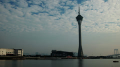 HD video of the Macau Tower and Sai Van Lake at dusk Stock Footage