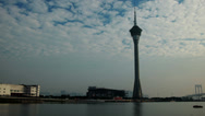 Stock Video Footage of HD video of the Macau Tower and Sai Van Lake at dusk