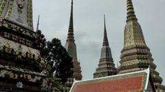 Thailand Bangkok 035 magnificent pillars in yard of wat pho temple Stock Footage